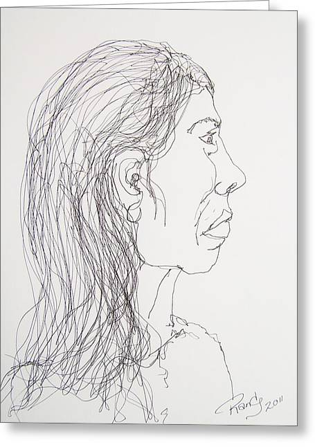 Female Portrait On Bus Greeting Card