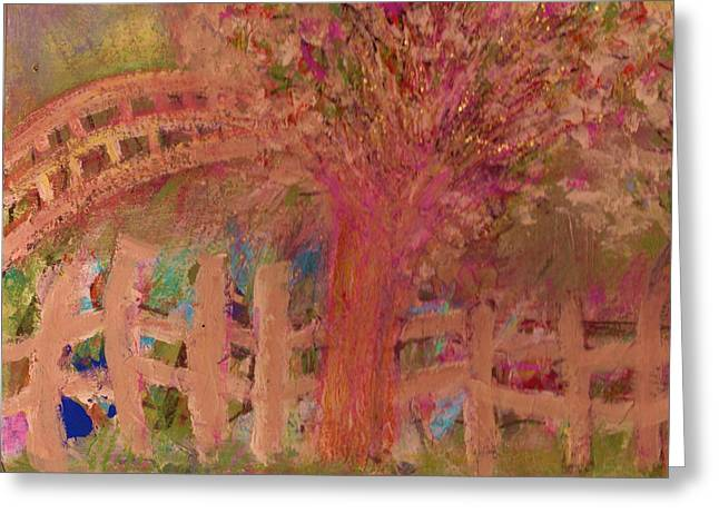 Fence And Tree Greeting Card by Anne-Elizabeth Whiteway