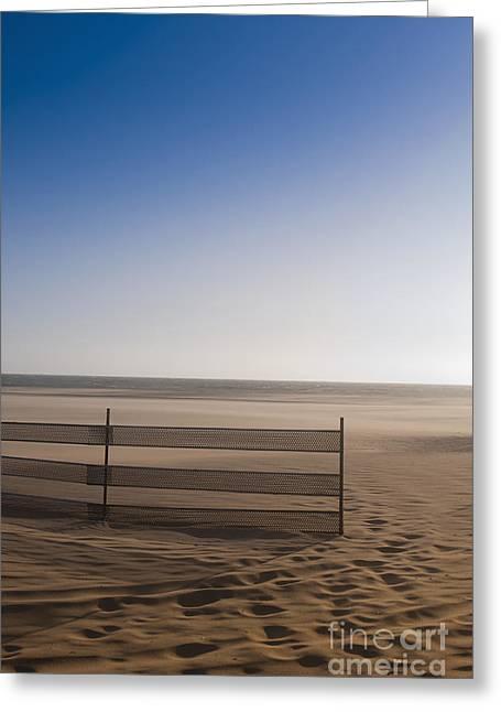 Fence On Beach Greeting Card by Sam Bloomberg-rissman