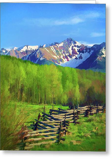 Fenceline Mountains Greeting Card