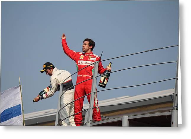 Fernando Alonso And Sergio Perez Greeting Card by David Grant