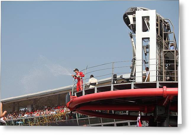 Greeting Card featuring the photograph Fernando Alonso At Monza 2012 by David Grant