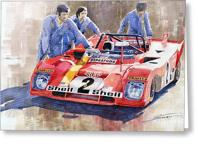 Ferrari 312 Pb 1972 Daytona 6-hour Winning Greeting Card by Yuriy  Shevchuk