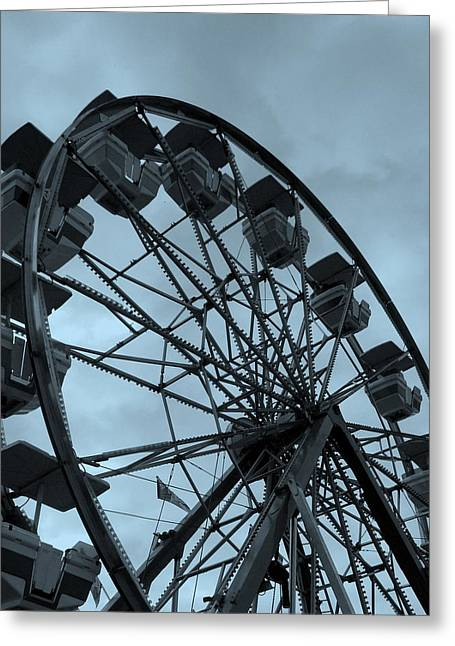 Greeting Card featuring the photograph Ferris Wheel Blue Sky by Ramona Johnston