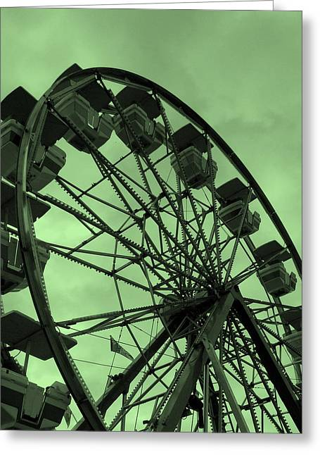 Greeting Card featuring the photograph Ferris Wheel Green Sky by Ramona Johnston