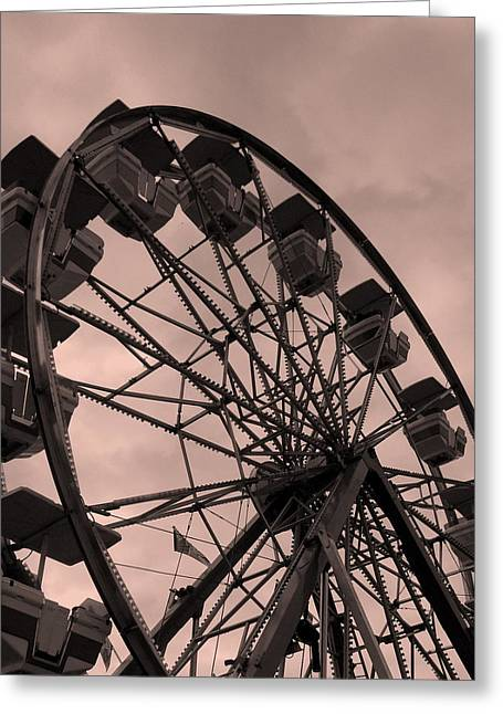 Greeting Card featuring the photograph Ferris Wheel Pink Sky by Ramona Johnston