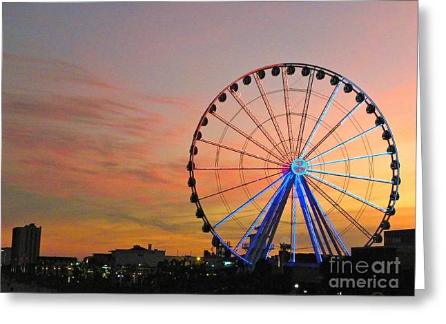 Greeting Card featuring the photograph Ferris Wheel Sunset 2 by Eve Spring