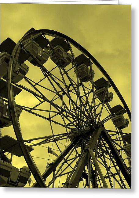 Greeting Card featuring the photograph Ferris Wheel Yellow Sky by Ramona Johnston