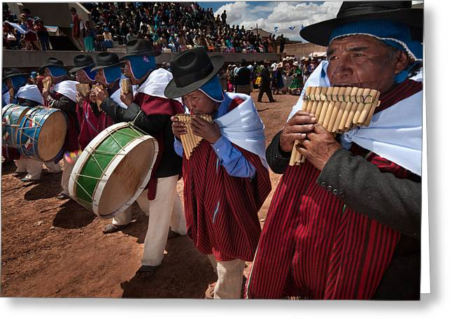Festival Of Traditional Dances. Population Of Tiwanaku. Republic Of Bolivia. Greeting Card