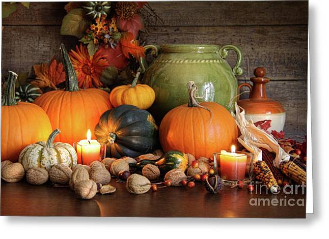 Festive Autumn Variety Of Gourds And Pumpkins  Greeting Card by Sandra Cunningham