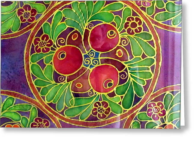 Festive Pomegranates In Gold And Vivid Colors Wall Decor In Red Green Purple Branch Leaves Flowers Greeting Card
