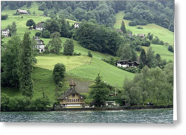Few Houses On The Slope Of Mountain Next To Lake Lucerne Greeting Card by Ashish Agarwal