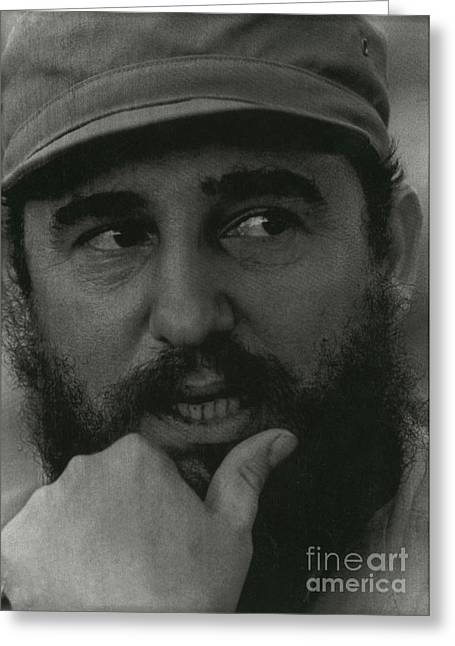 Fidel Castro, Cuban Revolutionary Greeting Card by Photo Researchers