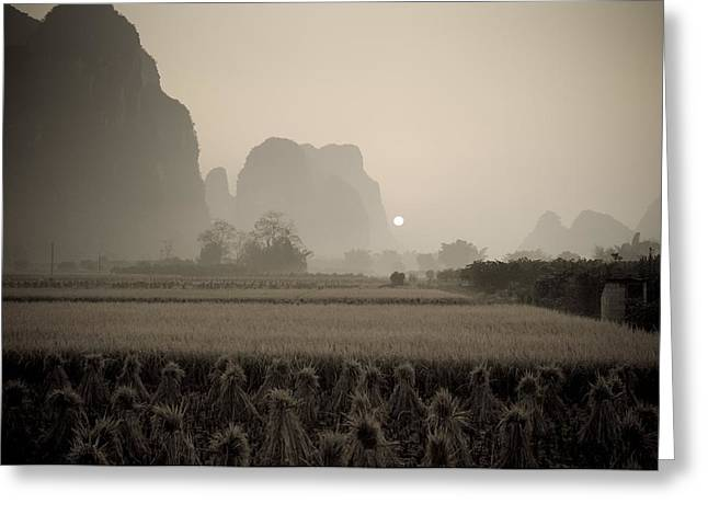 Field In Mountain Area, Toned Image Greeting Card by Keith Levit