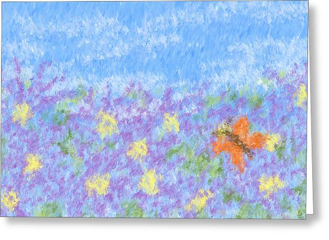 Field Of Asters - Impressionism Greeting Card by Heidi Smith