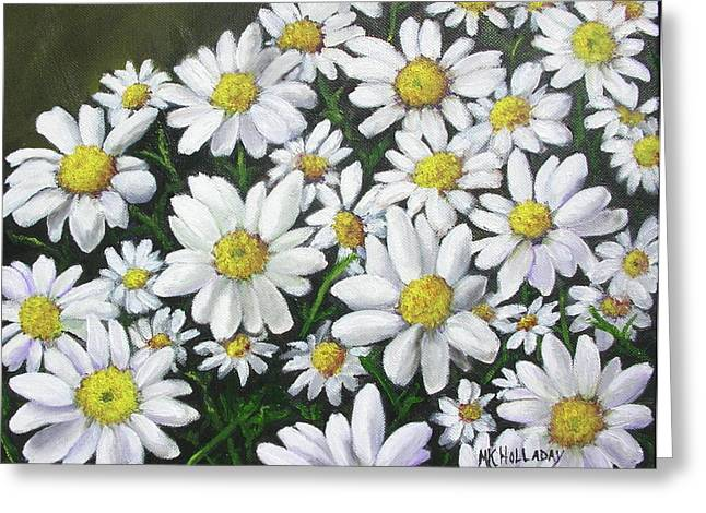Greeting Card featuring the mixed media Field Of Daisies by Mary Kay Holladay