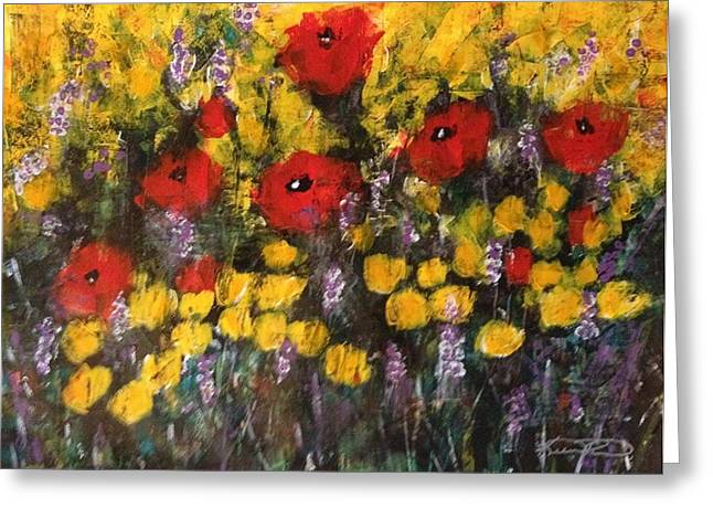Field Of Flowers With Poppies Greeting Card by Kelli Perk