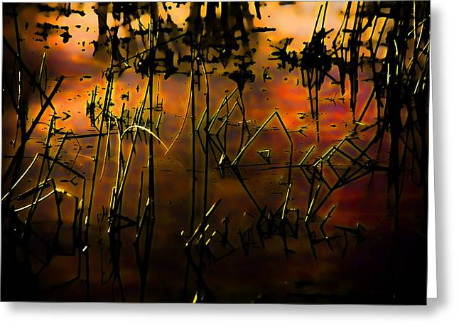 Fiery Abstract Greeting Card by Bonnie Bruno