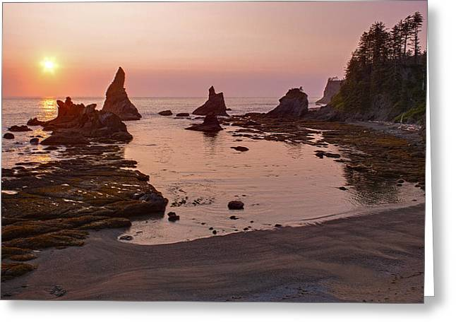 Fiery Coastline Greeting Card by Mike Reid