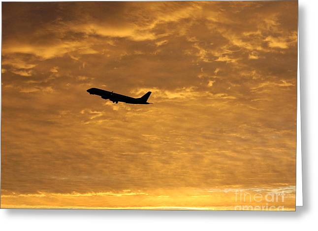 Greeting Card featuring the photograph Fiery Skies by Alex Esguerra