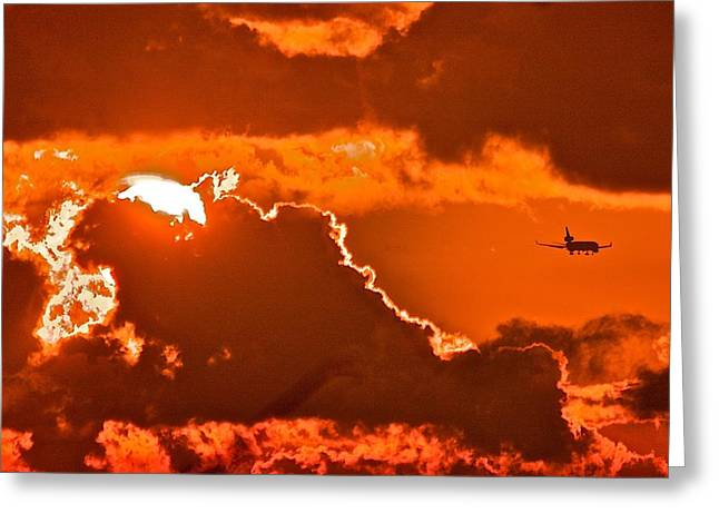 Greeting Card featuring the photograph Fiery Skies by Scott Holmes