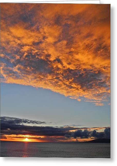 Fiery Sky At Sunset In Maui Greeting Card by Kirsten Giving