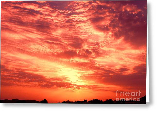 Fiery Sunrise Greeting Card by Graham Taylor