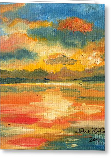Fiery Sunset Greeting Card by Julie Brugh Riffey