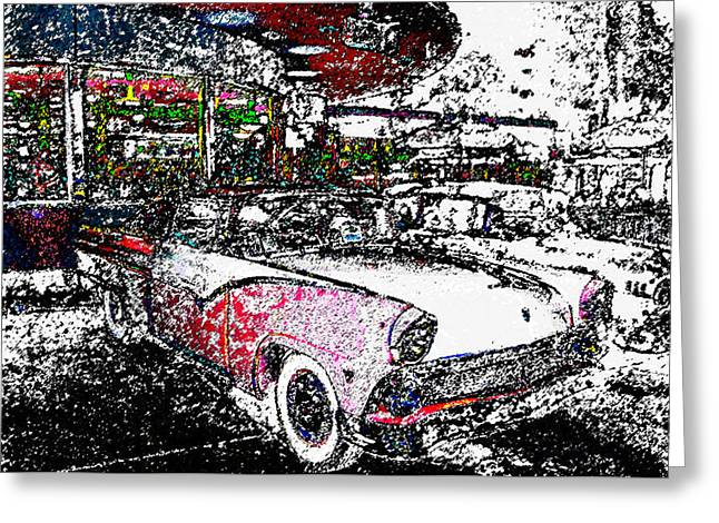 Fifties Drive In Greeting Card by David Lee Thompson