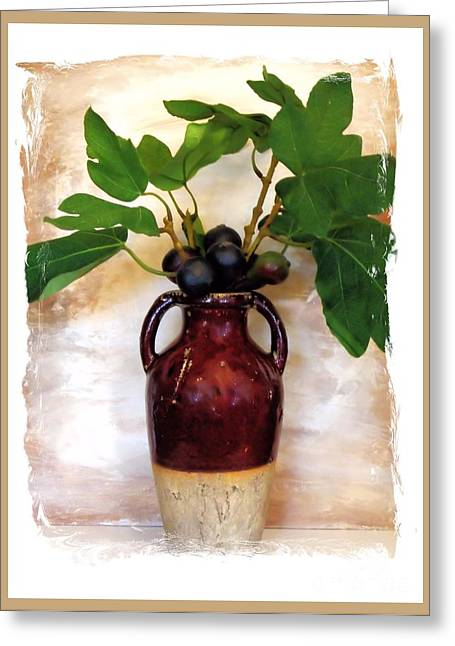 Fig Branch In Europeon Pottery Greeting Card by Marsha Heiken