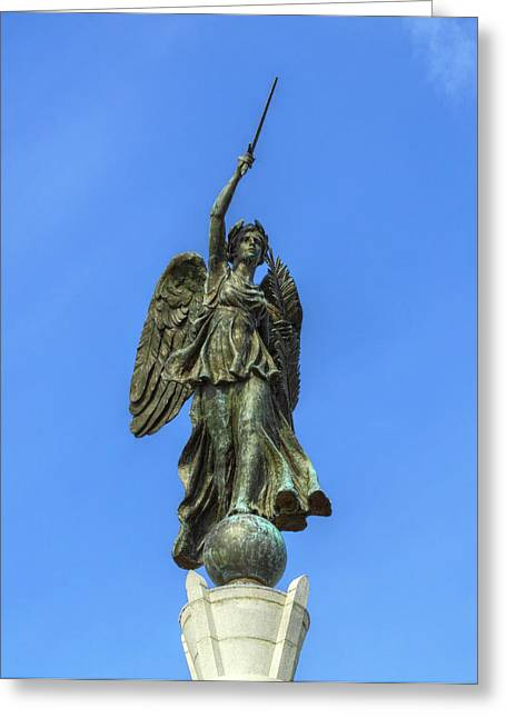 Figure Of Winged Victory At Gettysburg Greeting Card by Randy Steele