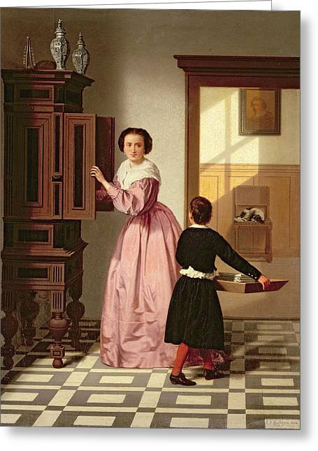 Figures In A Laundryroom Greeting Card by Gustaaf Antoon Francois Heyligers
