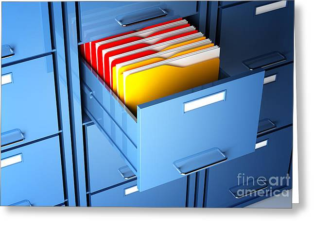 File Cabinet And Folder Greeting Card by Gualtiero Boffi