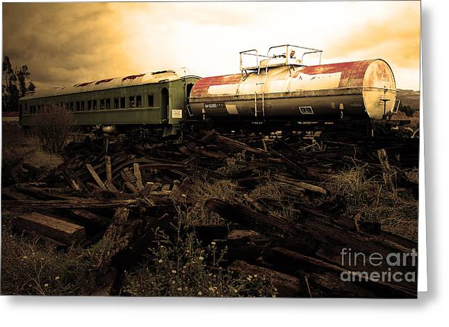 Final Stop Express . Sepia . 7d8995 Greeting Card by Wingsdomain Art and Photography
