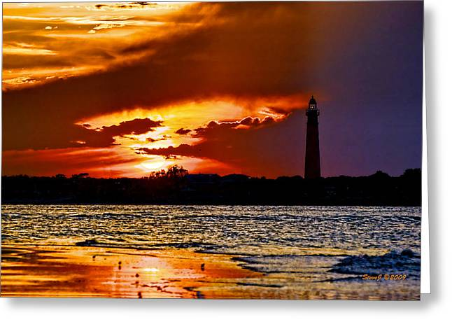 Final Sunset Ponce Lighthouse Greeting Card by Stephen  Johnson