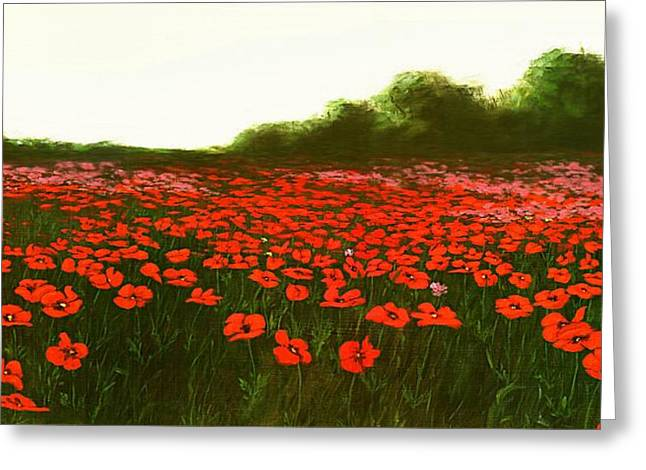 Fine Art Oil Painting Poppies Emerald Isle Greeting Card