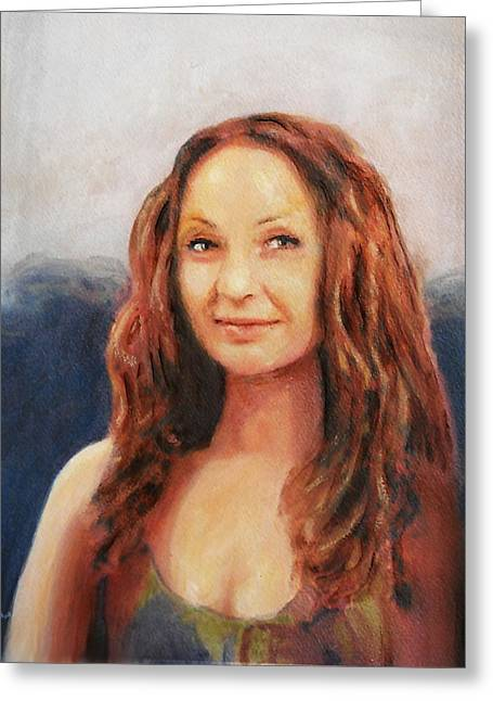 Fine Art Original Painting Jen Mona Lisa 2012 Greeting Card by G Linsenmayer