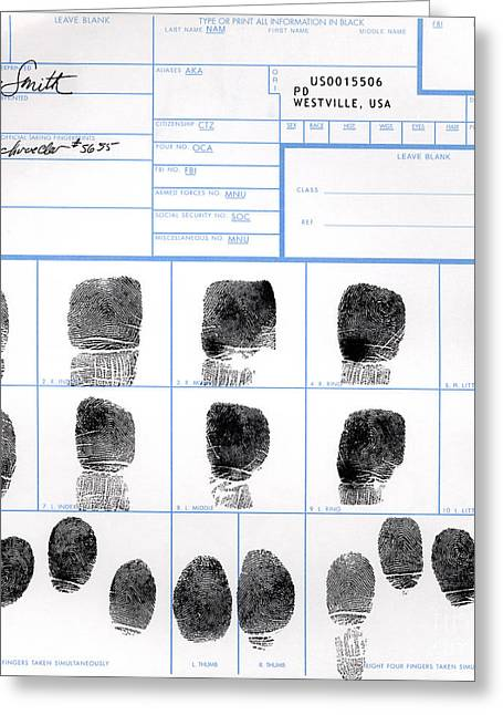 Fingerprint Identification Application Greeting Card by Science Source