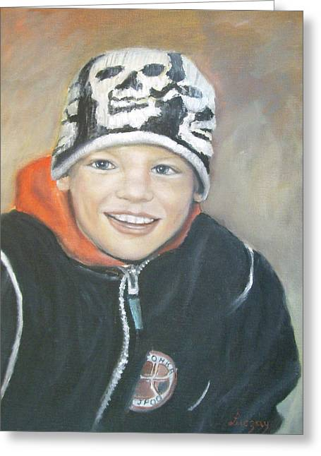 Greeting Card featuring the painting Finnish Boy Commission by Katalin Luczay