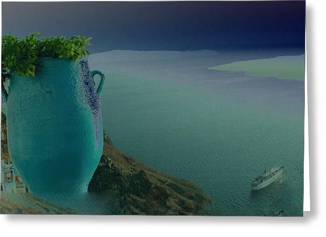 Fira View Santorini Greece Greeting Card by Colette V Hera  Guggenheim
