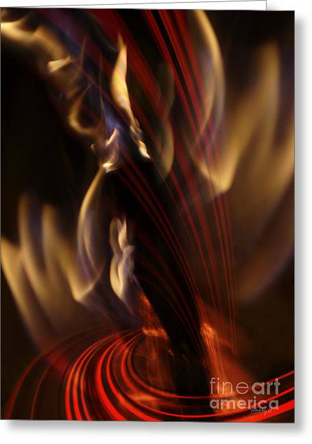 Greeting Card featuring the digital art Fire Dance by Johnny Hildingsson