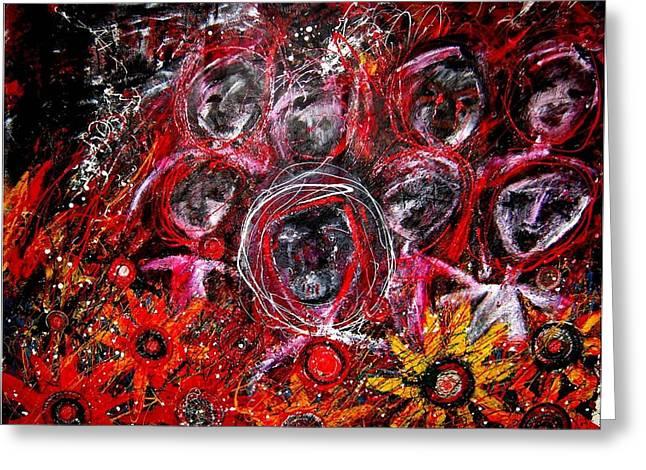 Fire Demons Greeting Card by Karen Elzinga