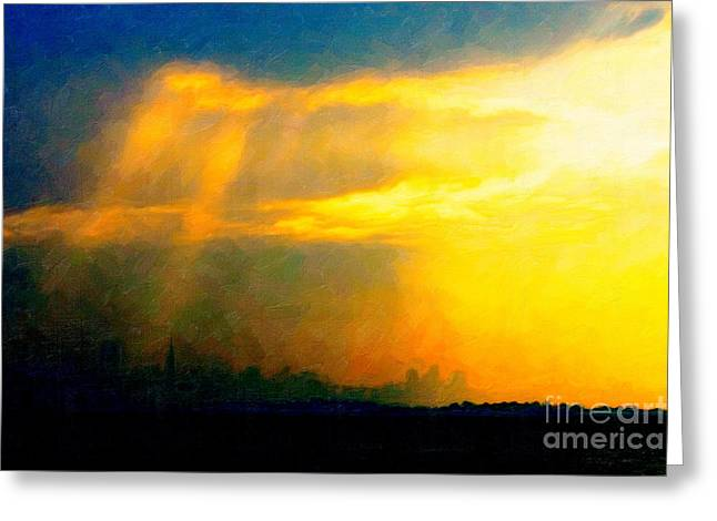 Fire In The City Greeting Card by Wingsdomain Art and Photography