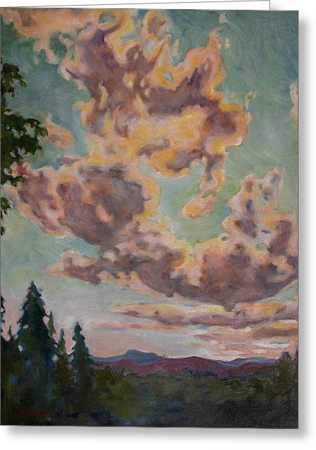 Greeting Card featuring the painting Fire In The Sky by Andrew Danielsen
