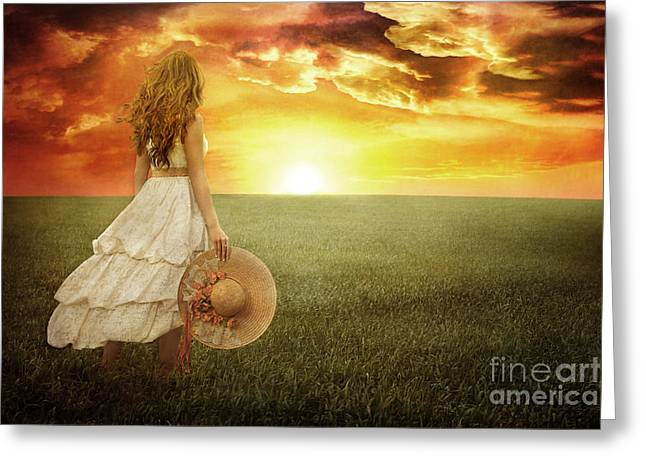 Fire In The Sky Greeting Card by Cindy Singleton