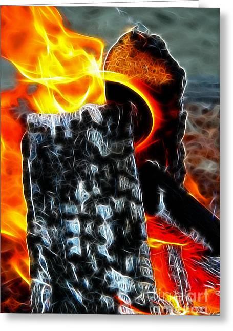 Fire Magic Greeting Card by Mariola Bitner