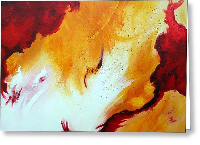 Greeting Card featuring the painting Fire Storm by Mary Kay Holladay