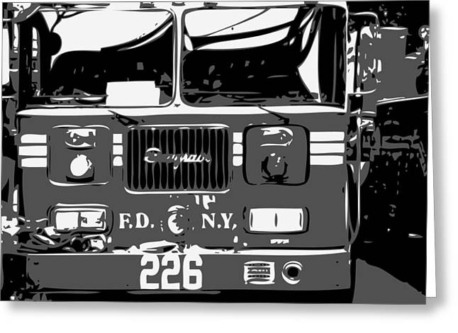Fire Truck Bw3 Greeting Card