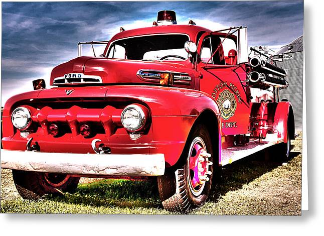 Greeting Card featuring the photograph Fire Truck by Susi Stroud