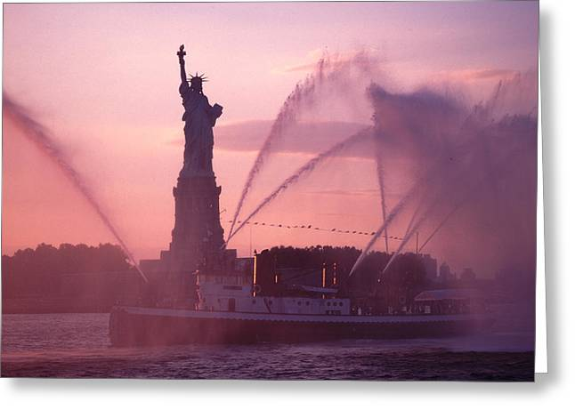 Fireboat Plumes The Statue Of Liberty Greeting Card by Tom Wurl